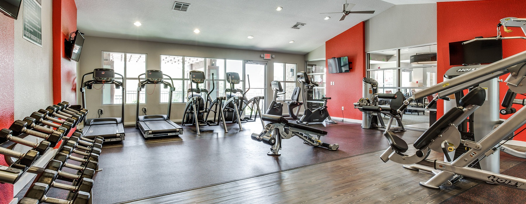 Ample treadmills and well-equipped fitness center