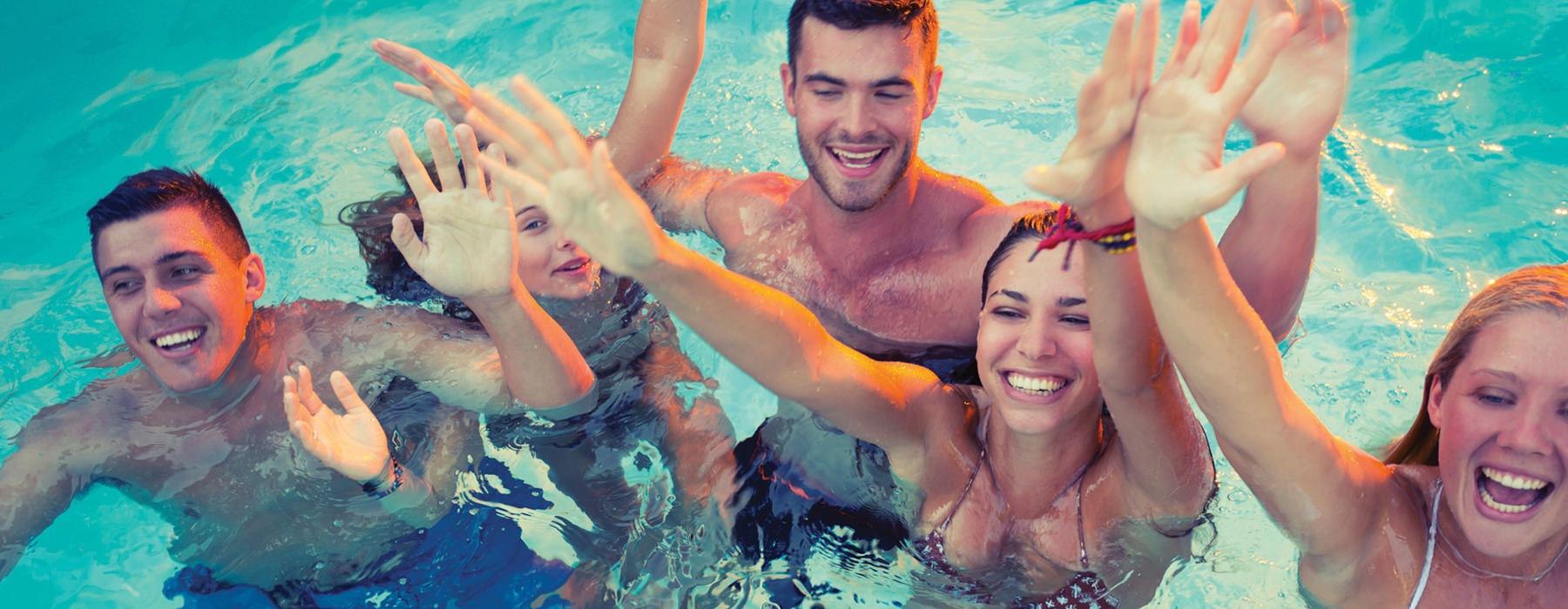 Young people enjoying the amenities